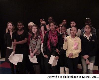 Photo d'une activité à la bibliothèque St-Michel, 2011