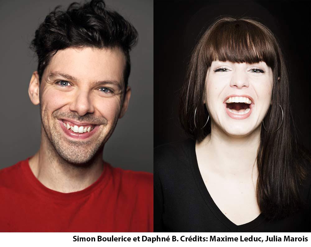 Photo de Simon Boulerice et Daphné B. Crédits: Maxime Leduc et Julia Marois