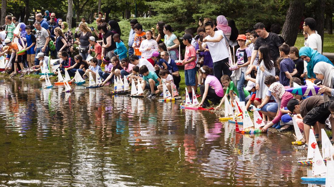 Journée de mise à l'eau des petits bateaux au lac aux Castors