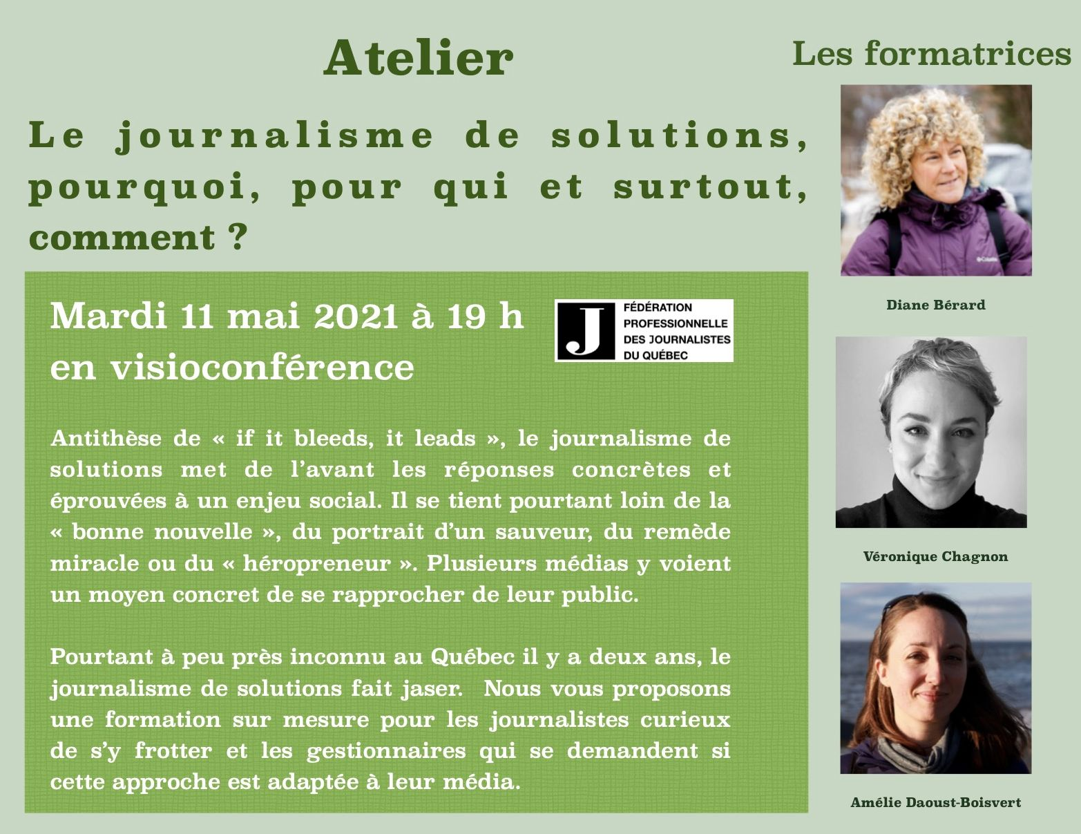 Atelier « Le journalisme de solutions, pourquoi, pour qui et comment ?»
