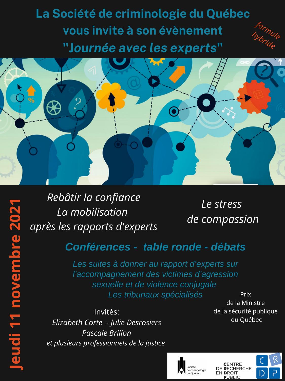 Journée avec les experts « Rebâtir la confiance : la mobilisation après les rapports d'experts sur l'accompagnement des victimes d'agressions sexuelles et de violence conjugale »