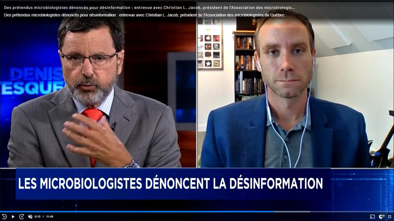 Des prétendus microbiologistes dénoncés pour désinformation : entrevue avec Christian L. Jacob, président de l'Association des microbiologistes du Québec