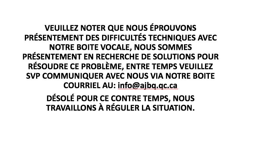 MESSAGE D'AVIS GÉNÉRAL