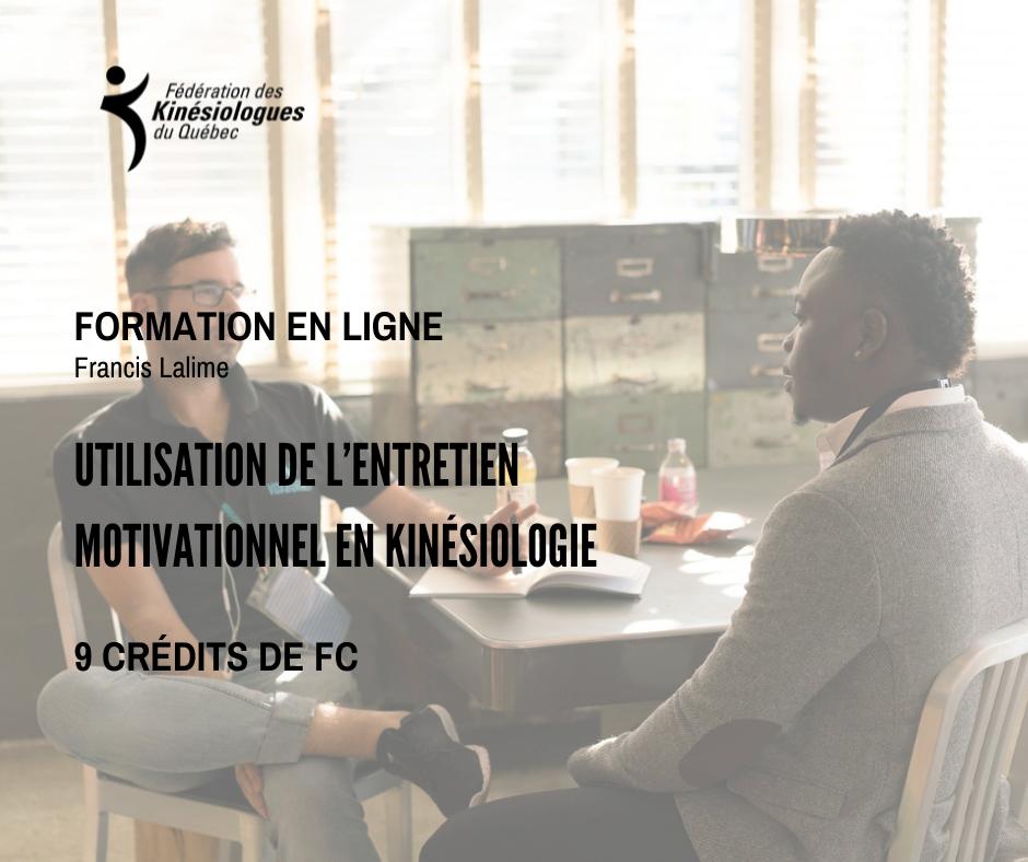 Utilisation de l'entretien motivationnel en kinésiologie - 11, 12 et 18 septembre 2021