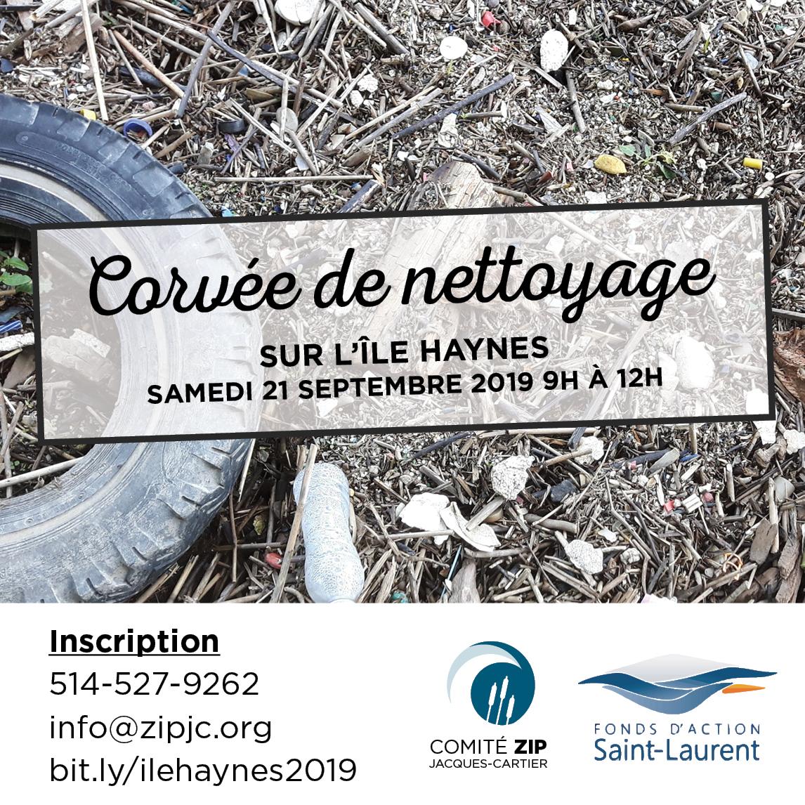 Corvée de nettoyage sur l'Île Haynes à Pointe-aux-Trembles