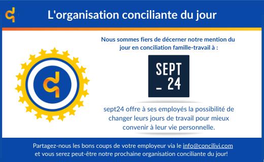 Concilivi octroie la mention d'organisation conciliante du jour à Sept24!