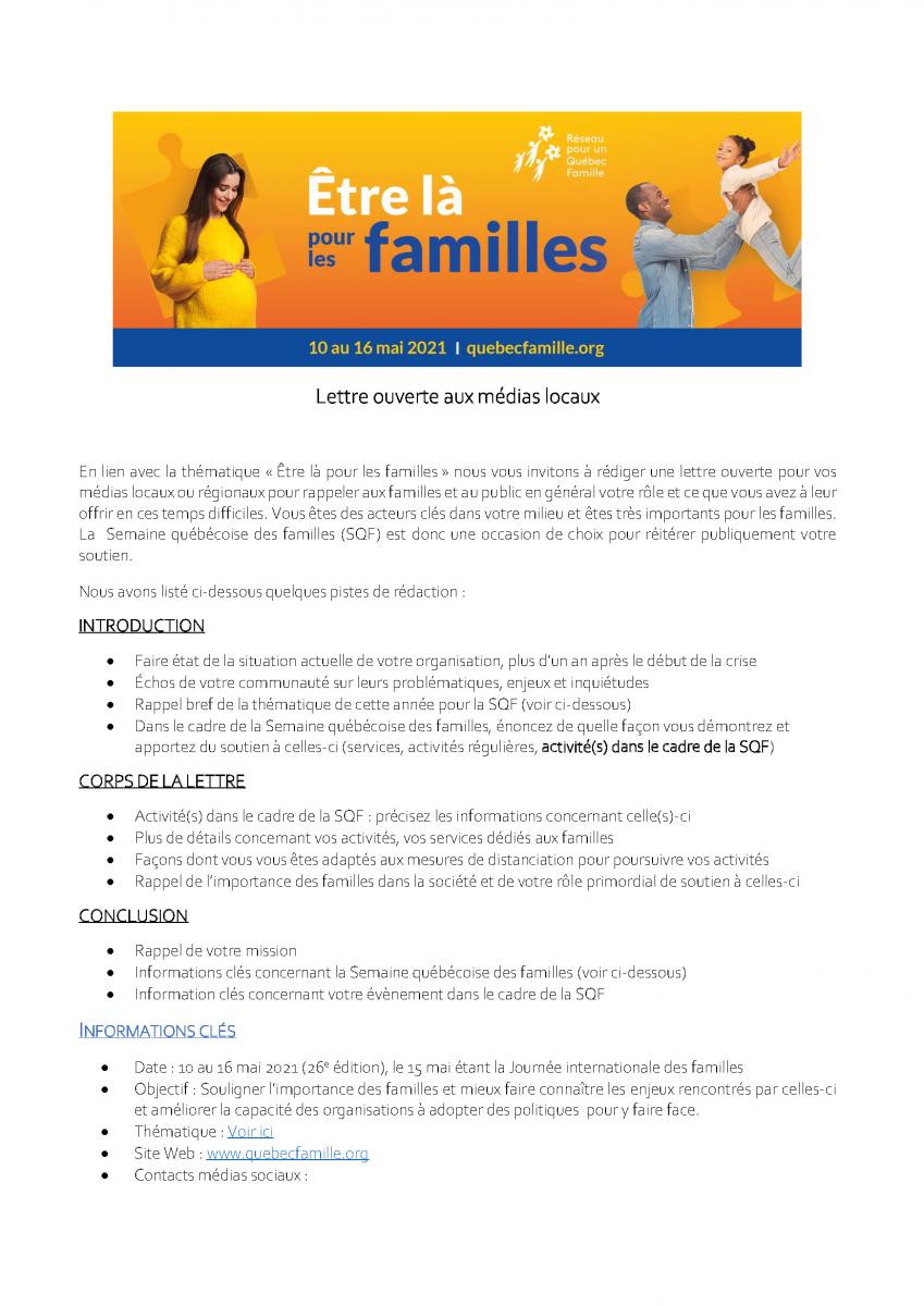 Pistes de rédaction pour lettre ouverte aux médias - Semaine québécoise des familles 2021