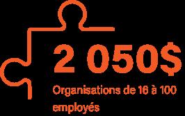 2050$ pour les entreprises de 16 à 100 employés
