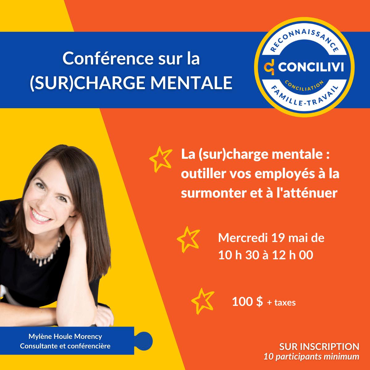 Conférence : La (sur)charge mentale - Outiller vos employés à la surmonter et l'atténuer