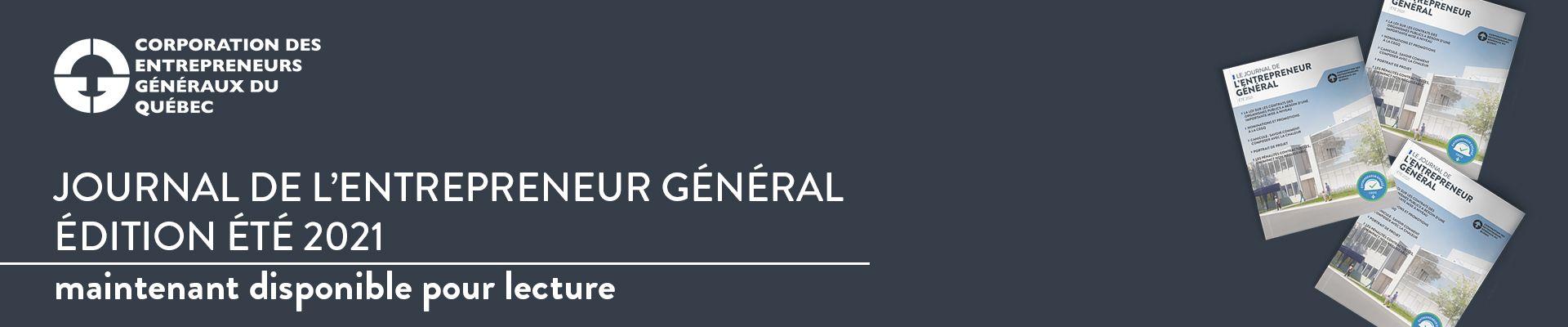 Journal de l'entrepreneur général