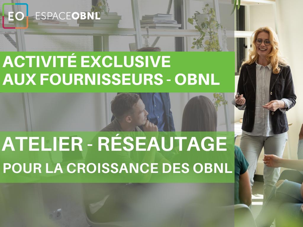 Activité exclusive aux fournisseurs spécialisés pour OBNL - 21 avril 2021