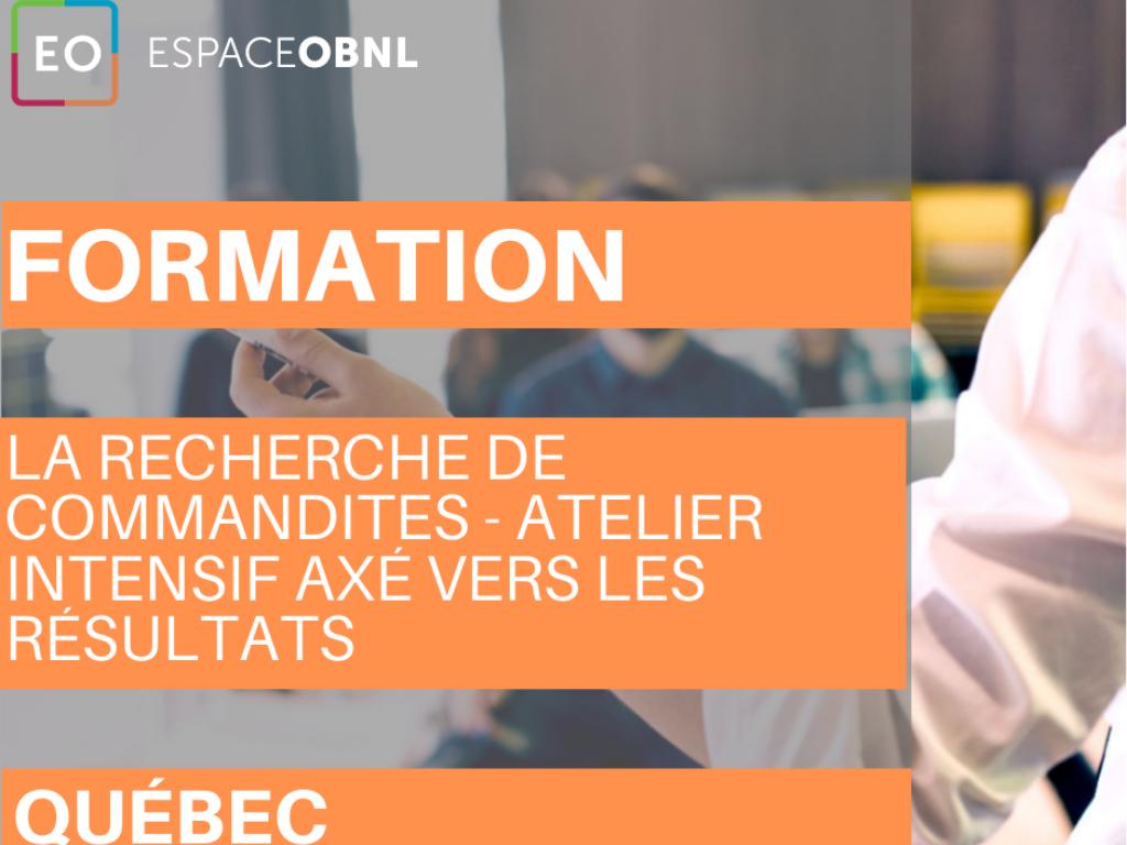 La recherche de commandites - atelier intensif VILLE DE QUÉBEC - 21 mai 2020