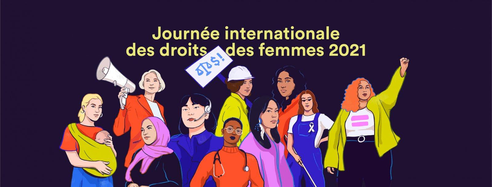 صدها نفر از زنان در فرانسه به مناسبت روز جهانی زن، دست به تظاهرات زدند