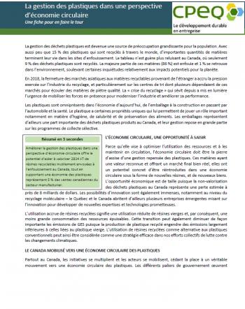 Fiche #5 - La gestion des plastiques dans une perspective d'économie circulaire