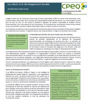 Fiche DD et RSE - Les clients et le développement durable
