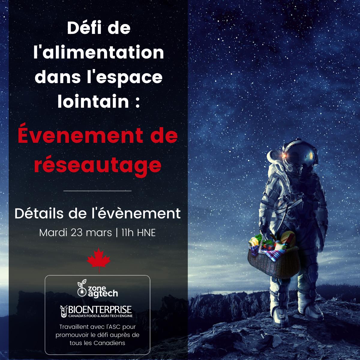 ÉVÈNEMENT DE MAILLAGE POUR LE DÉFI DE L'ALIMENTATION POUR L'ESPACE LOINTAIN