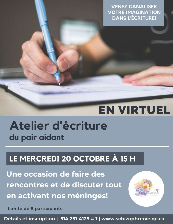 [PERSONNES ATTEINTES] Atelier virtuel d'écriture du pair aidant d'octobre