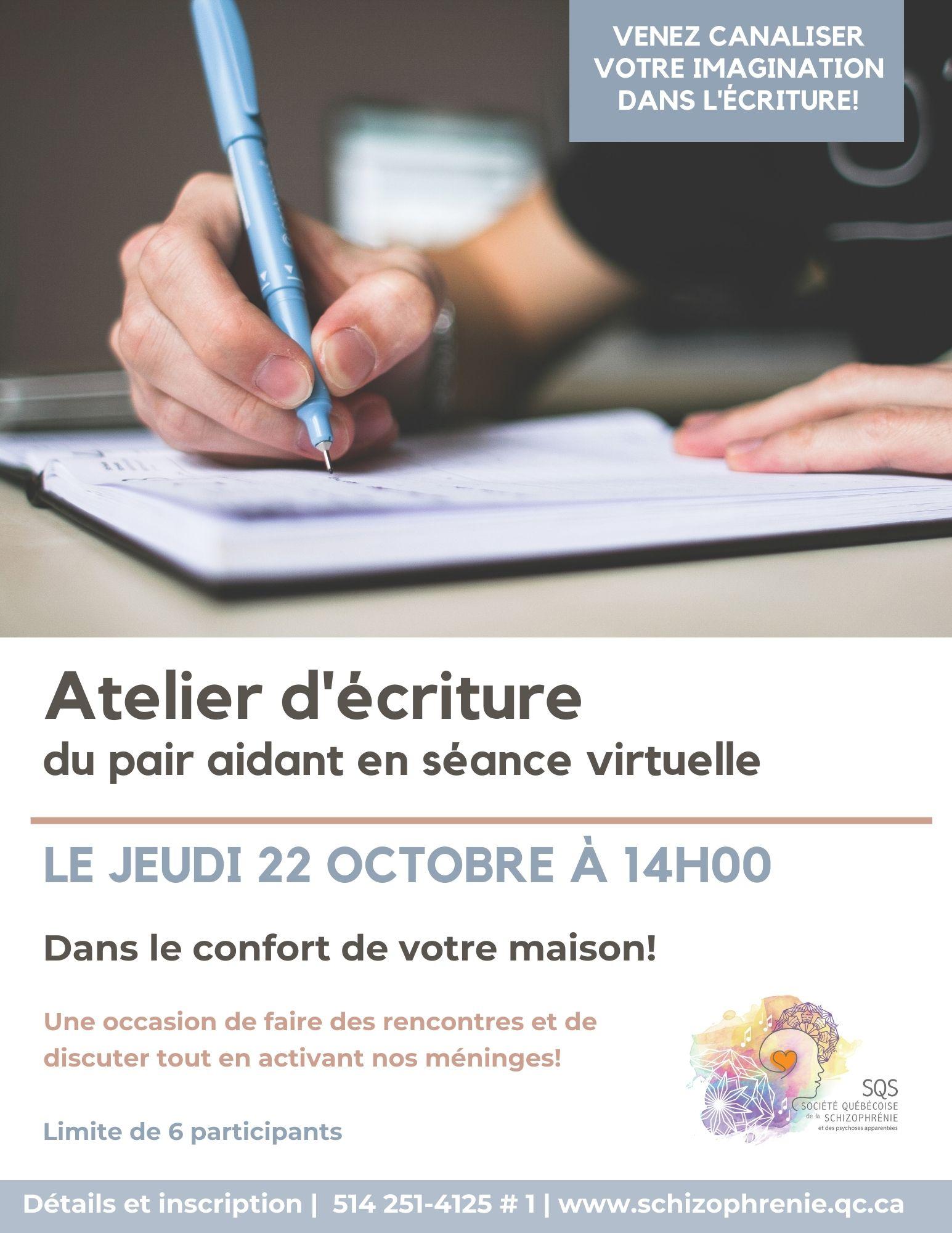 [Séance virtuelle] Atelier d'écriture - activités du pair aidant d'octobre