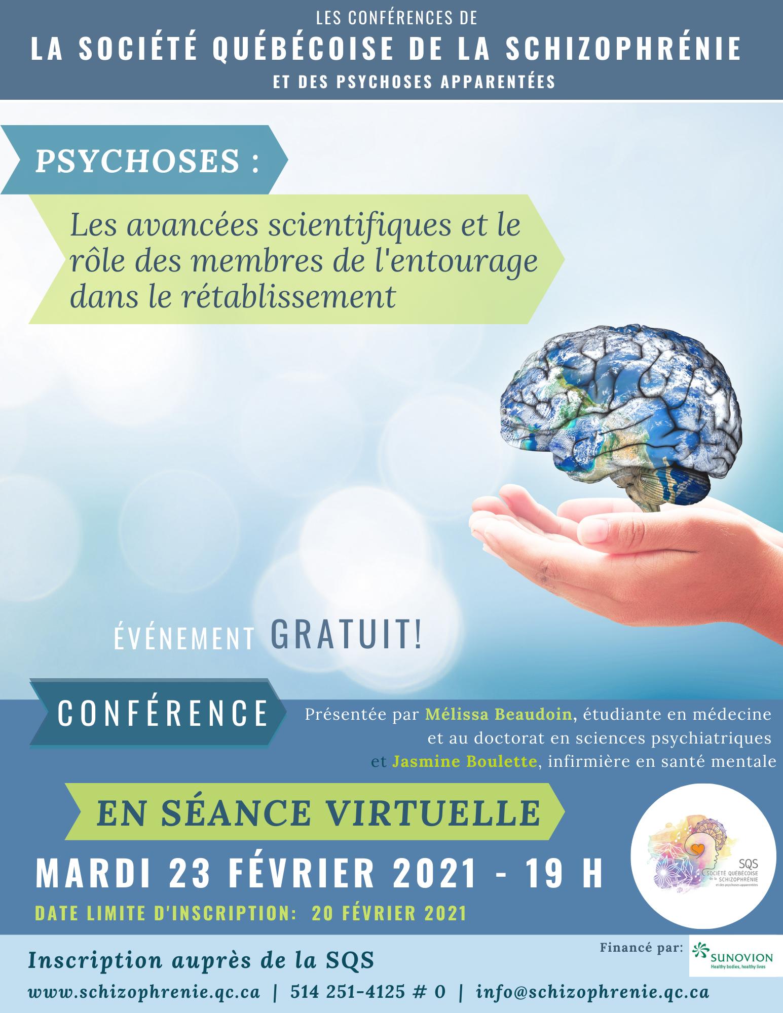 |COMPLET| - [VIRTUEL] CONFÉRENCE SQS - Psychoses: les avancées scientifiques et le rôle des membres de l'entourage dans le rétablissement