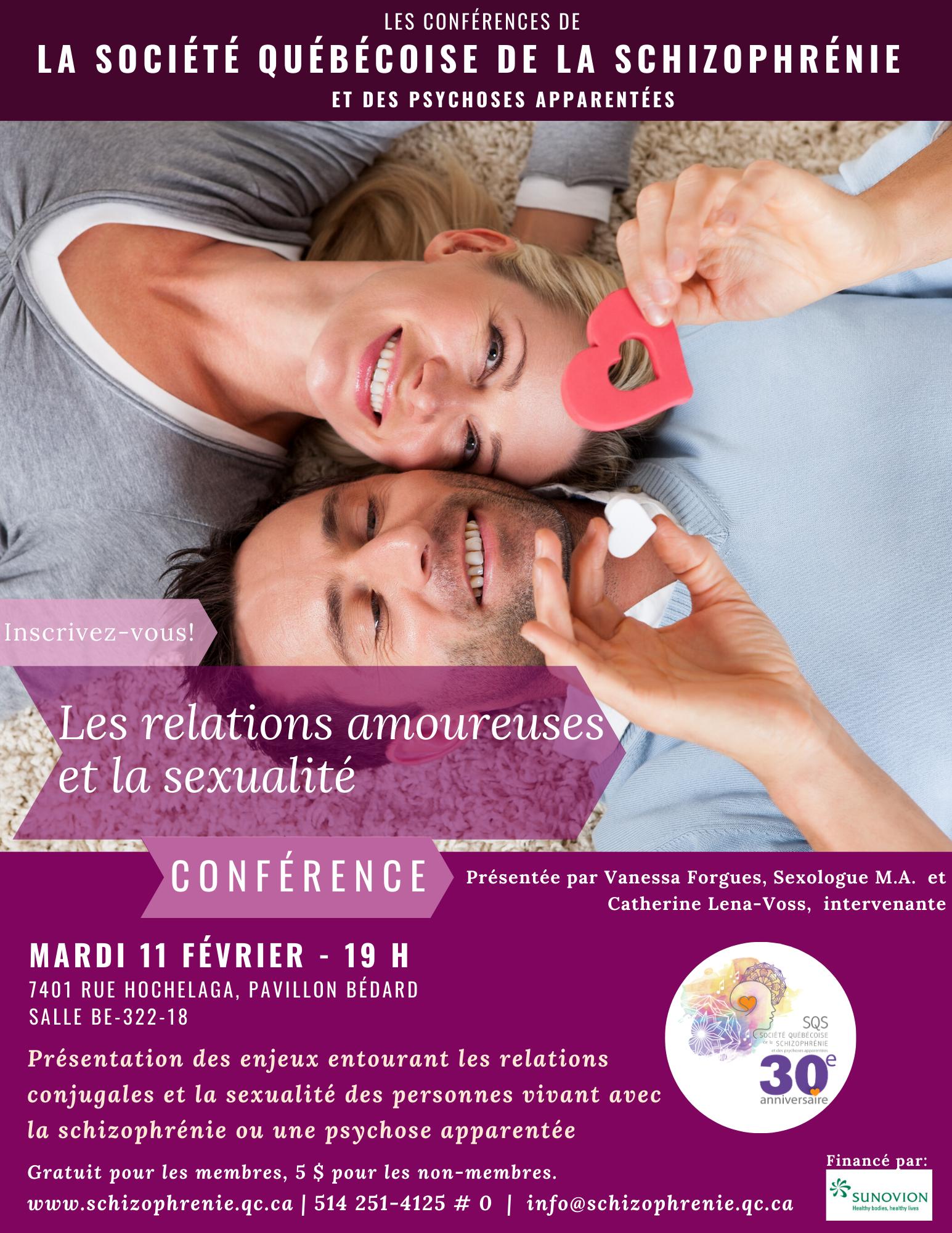 CONFÉRENCE SQS : Les relations amoureuses et la sexualité