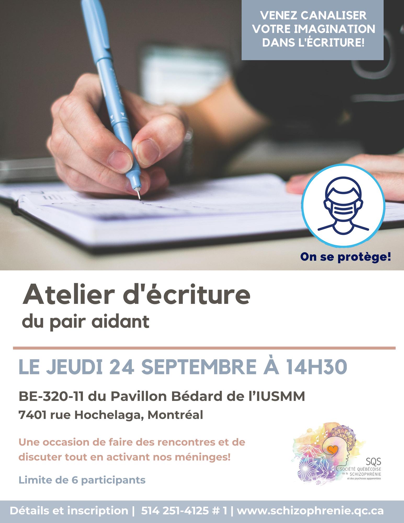Atelier d'écriture - activités du pair aidant de septembre