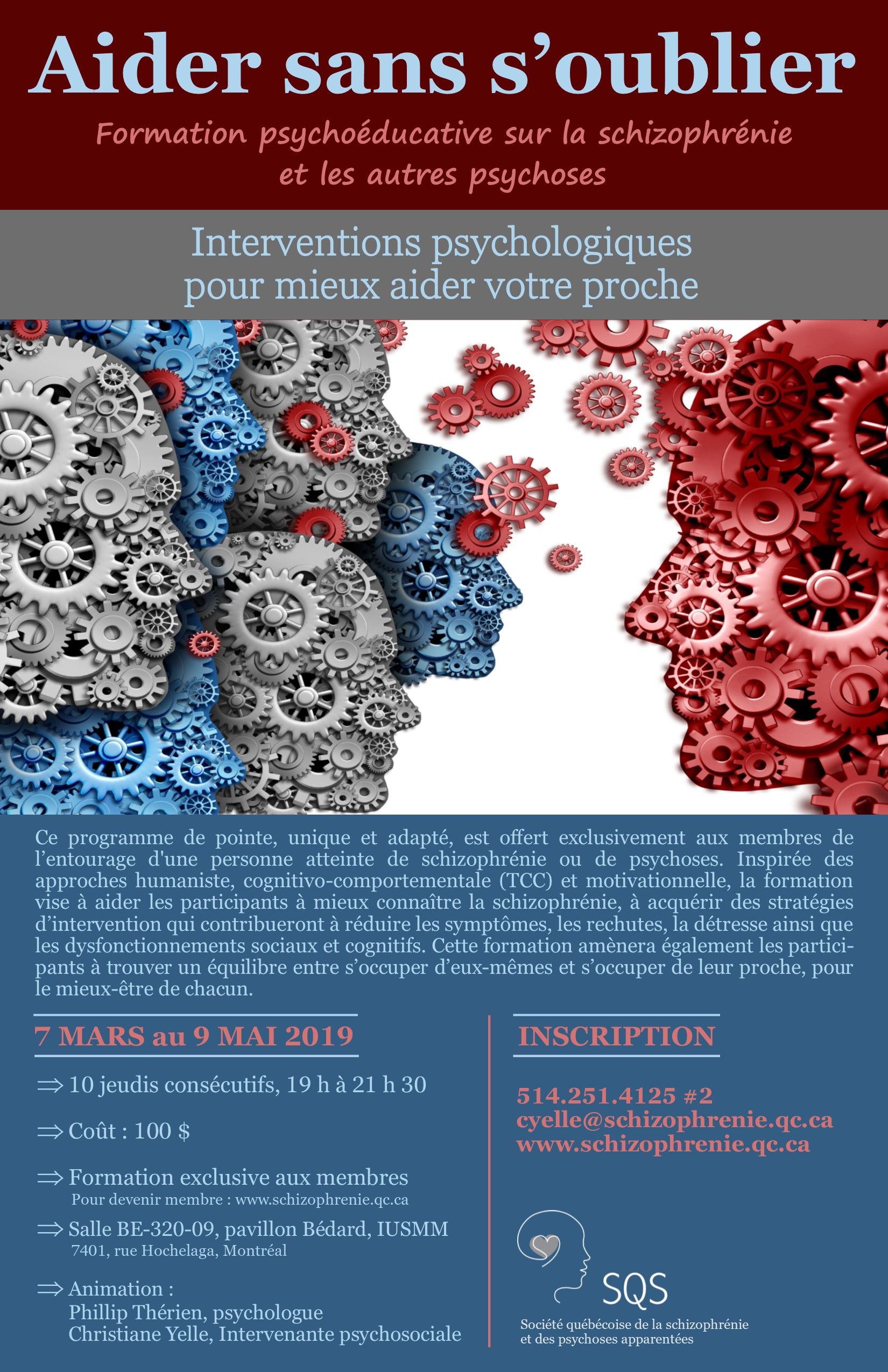 Formation Aider sans s'oublier - Psychoéducation sur la schizophrénie et les autres psychoses s'adressant aux membres de l'entourage.