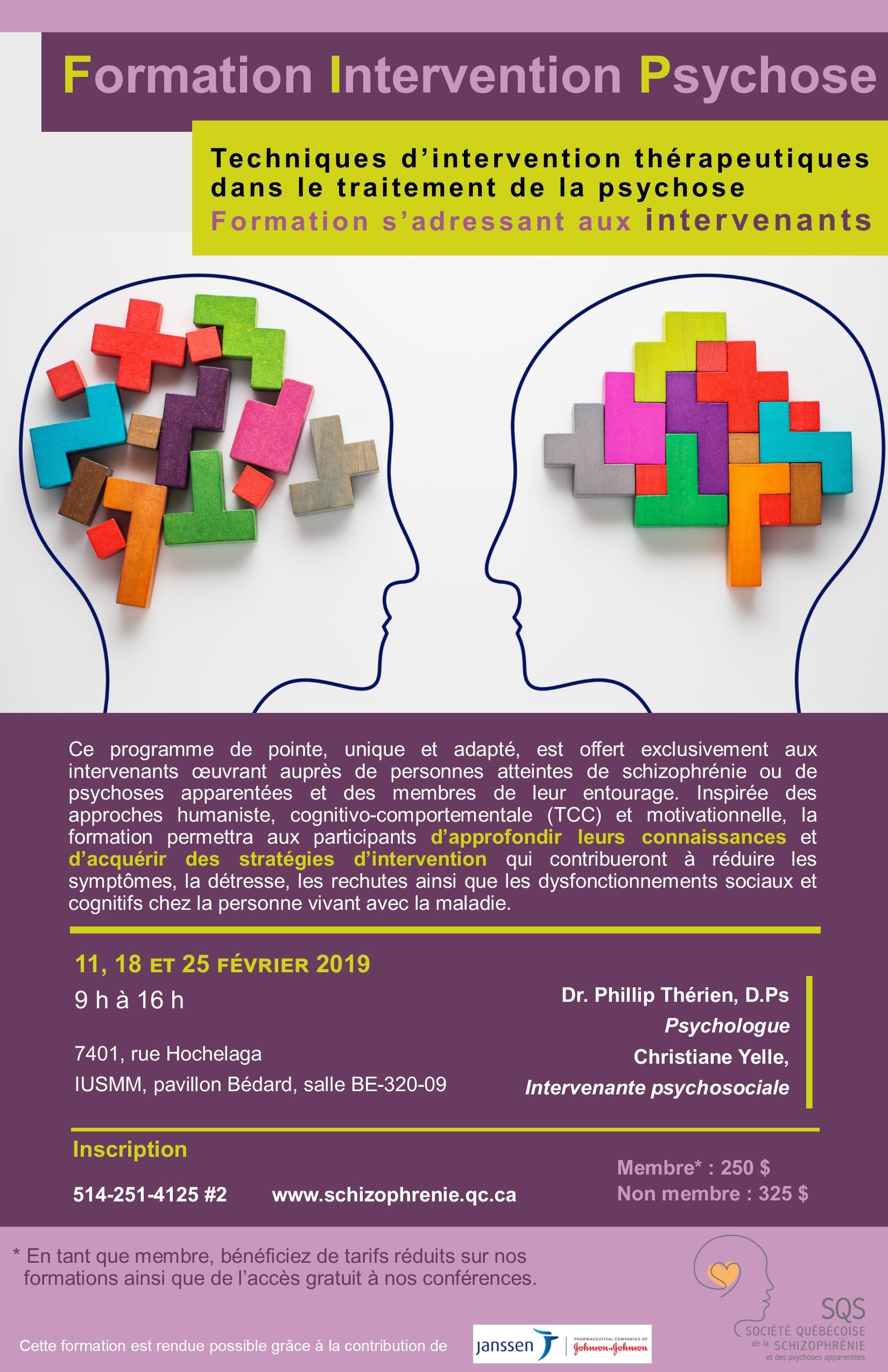 Formation Intervention Psychose  Techniques d'intervention thérapeutiques dans le traitement de la psychose