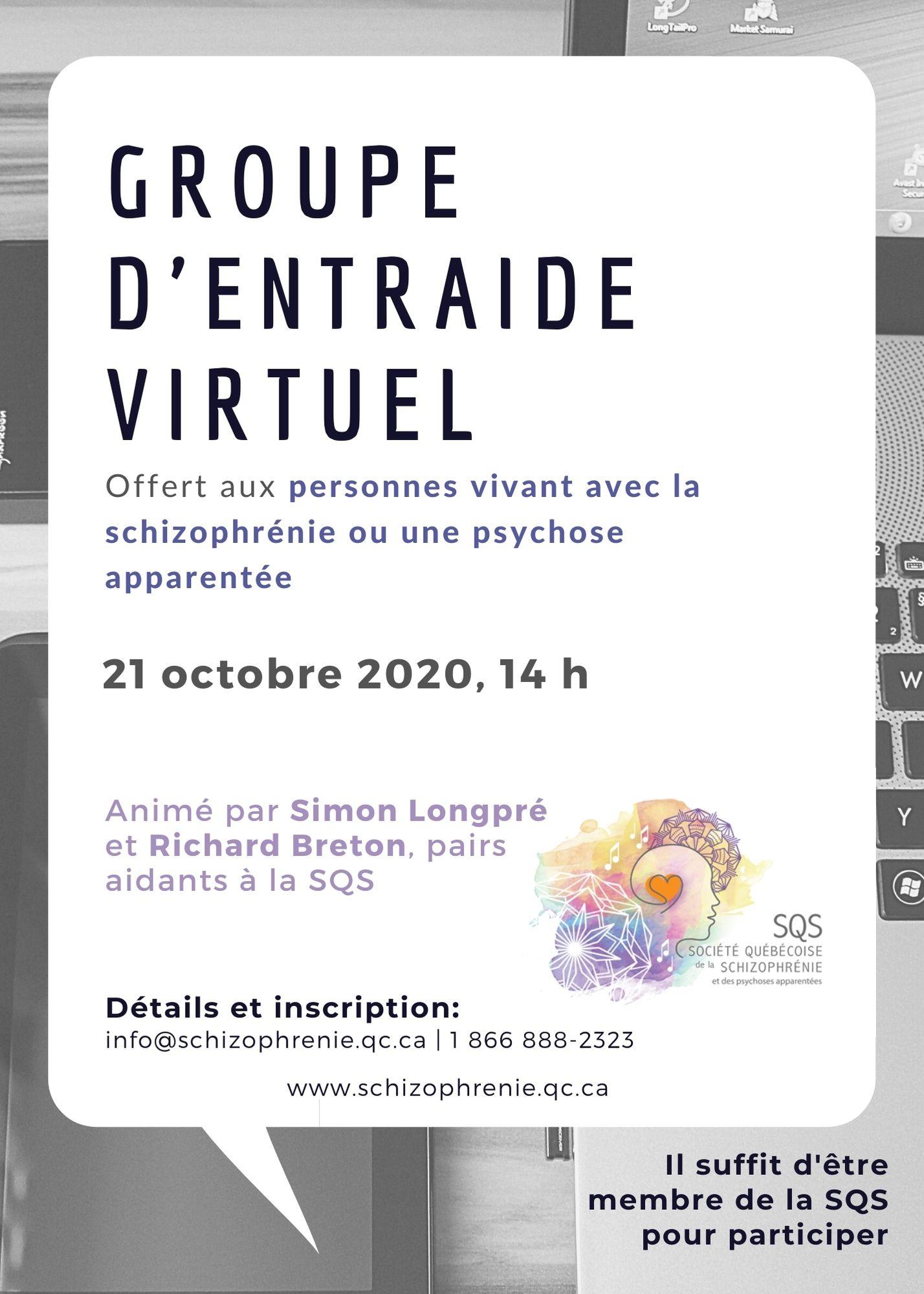 [PERSONNES ATTEINTES] – GROUPE D'ENTRAIDE VIRTUEL DU 21 OCTOBRE 2020