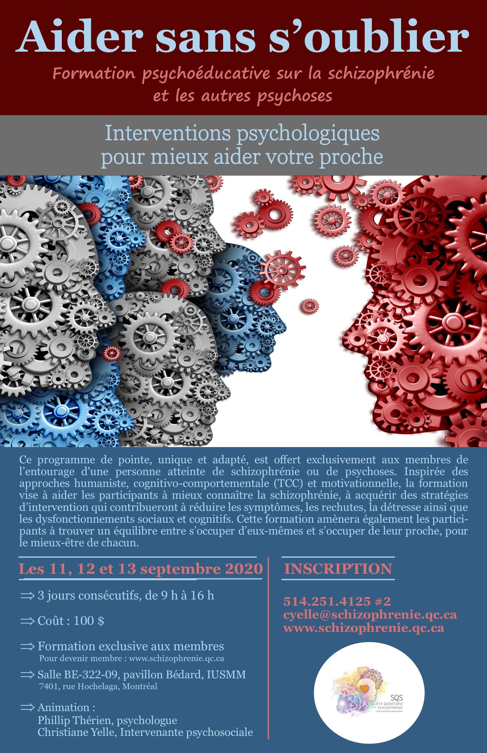 Formation Aider sans s'oublier – Psychoéducation sur la schizophrénie et les autres psychoses