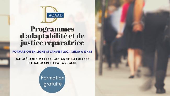 Programmes d'adaptabilité et de justice réparatrice (formation gratuite)