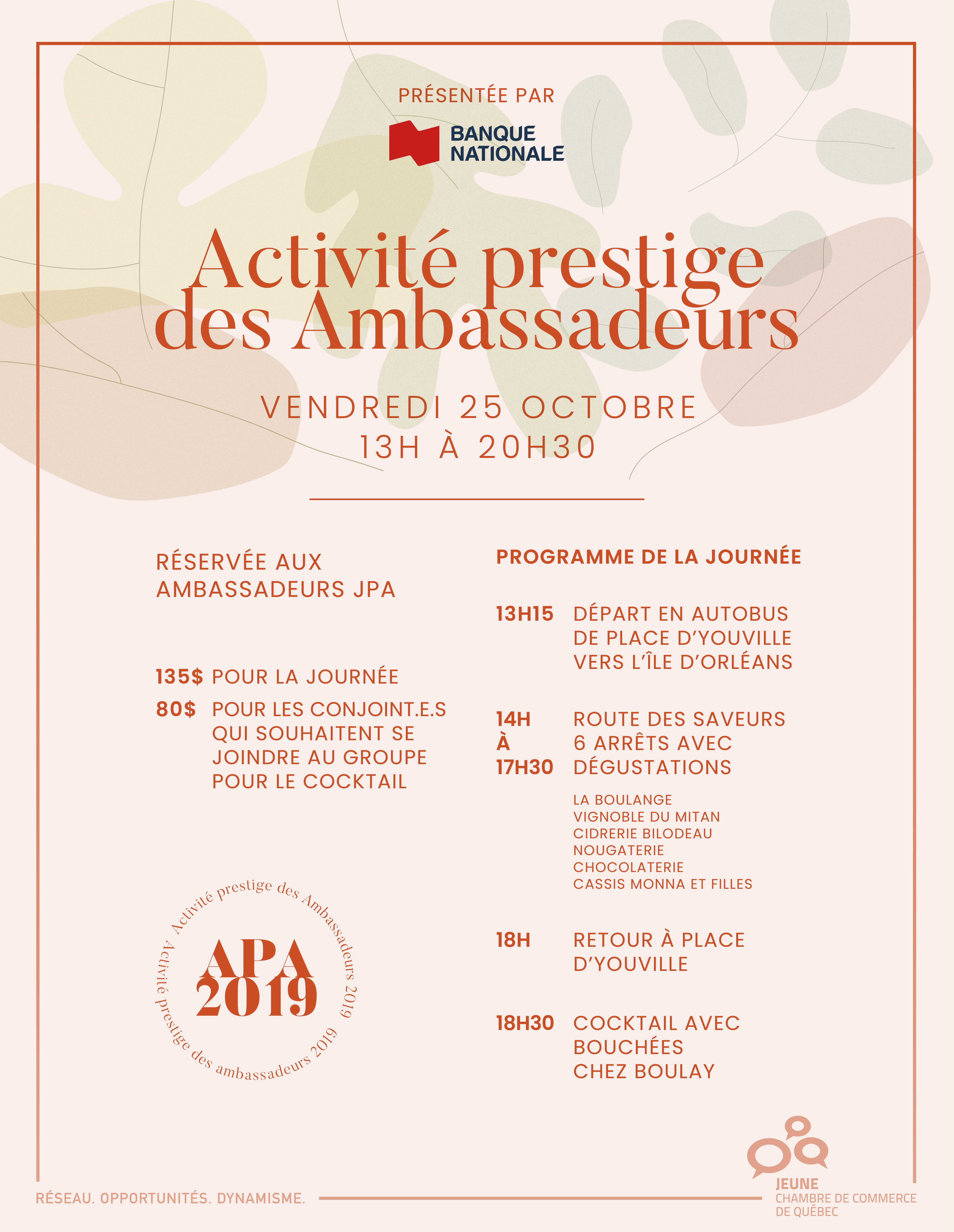 Activité prestige des Ambassadeurs