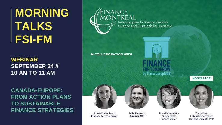 FSI Webinar « Canada-Europe: From Action Plans to Sustainable Finance Strategies »