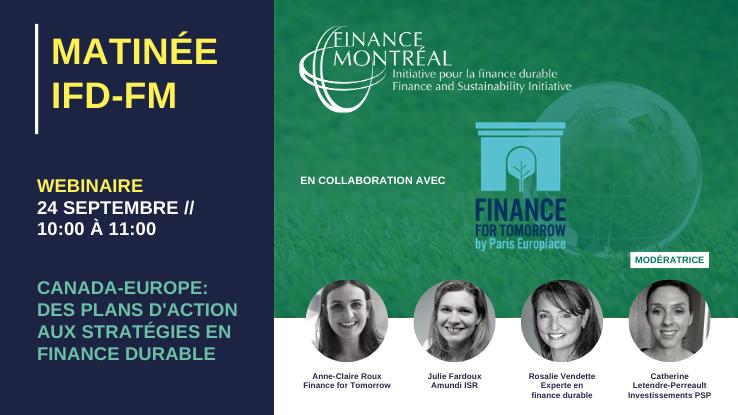 Webinaire IFD « Canada-Europe: des plans d'action aux stratégies en finance durable »