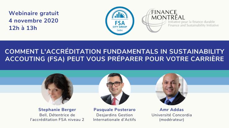 Webinaire: Comment l'accréditation Fundamentals in Sustainability Accouting (FSA) peut vous préparer pour votre carrière