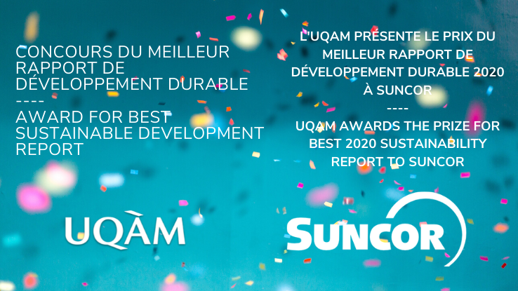 UQAM awards the prize for the best 2020 sustainability report to Suncor
