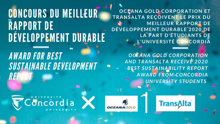 OceanaGold Corporation et TransAlta Corporation reçoivent le prix du meilleur rapport de développement durable 2020 de la part d'étudiants de l'Université Concordia