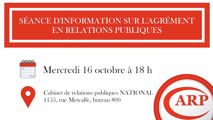 Séance d'information sur l'agrément en Relations Publiques (ARP)