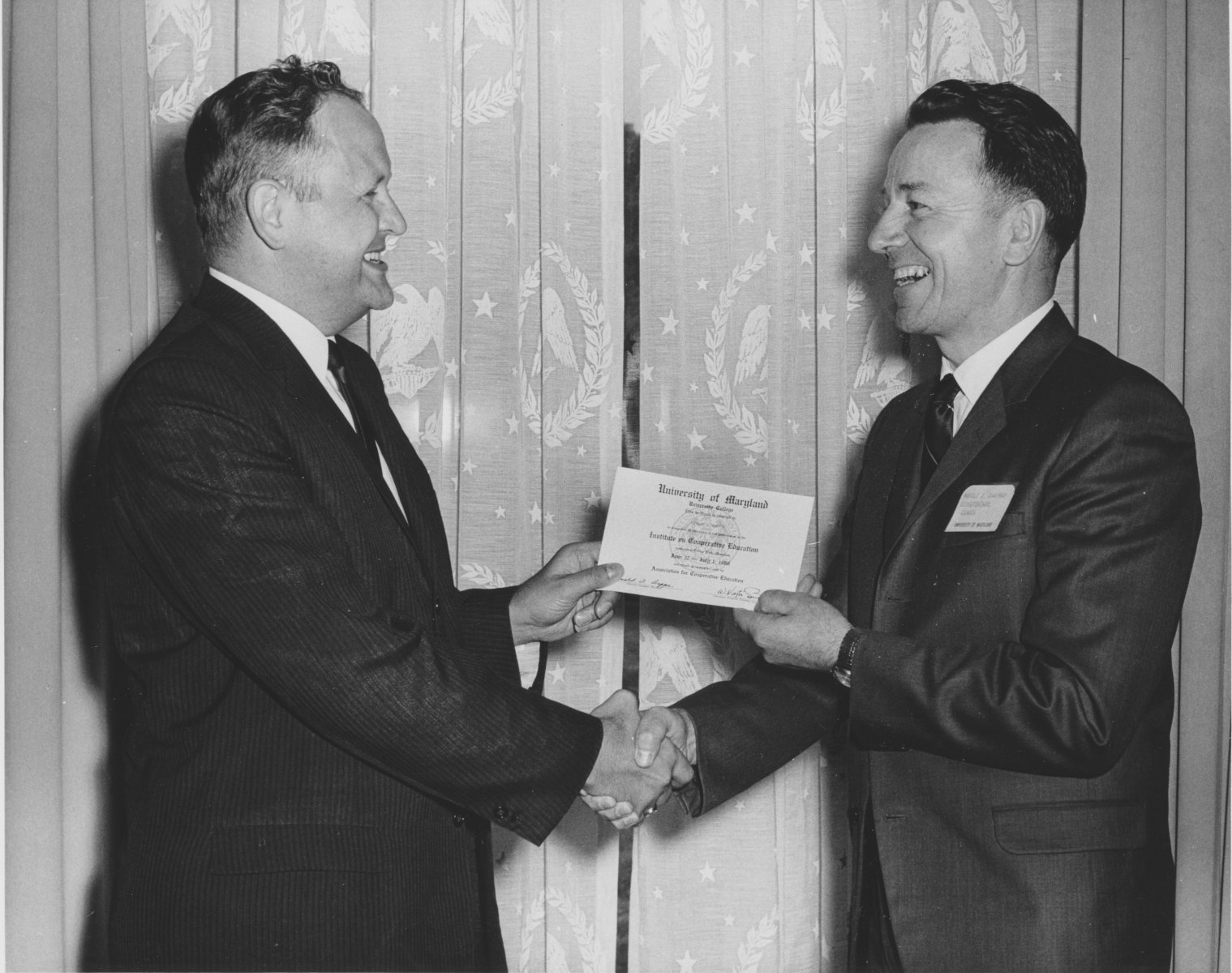 Glenn Anderson of Wisconsin (Left) and Harold E. Chapman of Saskatchewan were President and Vice President of the first ACE board, signalling the collaboration of co-op educators across borders that defines ACE.