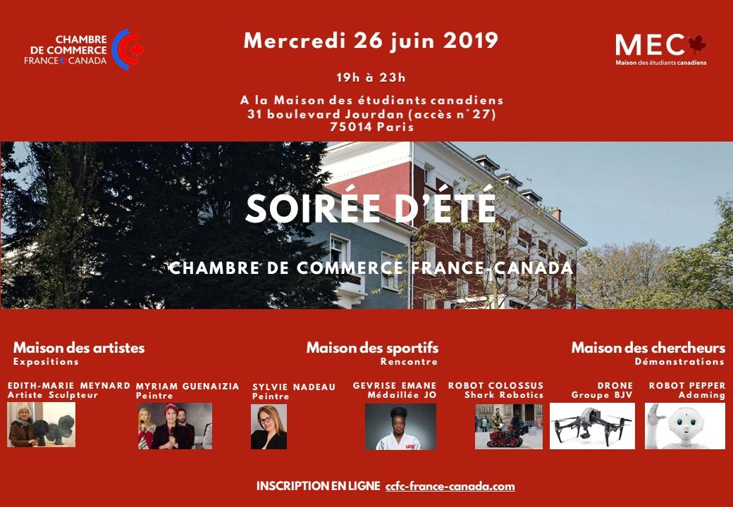 Mercredi 26 juin soirée d'été de la Chambre de Commerce France-Canada