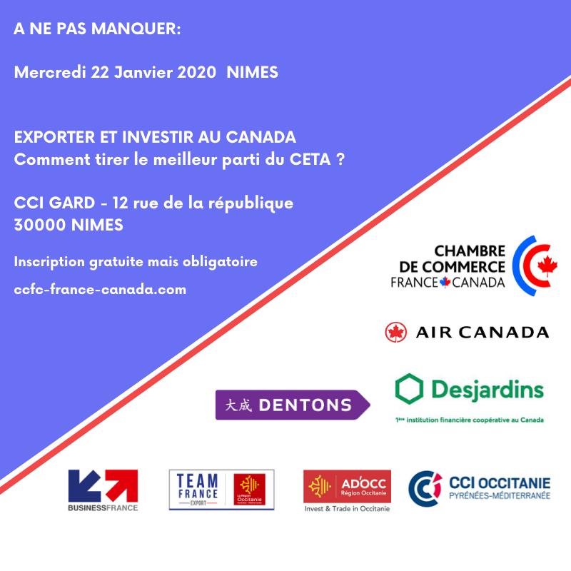 Mercredi 22 Janvier Exporter et investir au Canada NIMES
