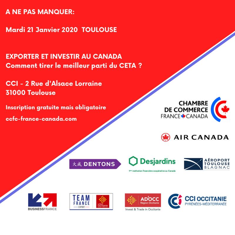 Mardi 21 Janvier Exporter et investir au Canada TOULOUSE