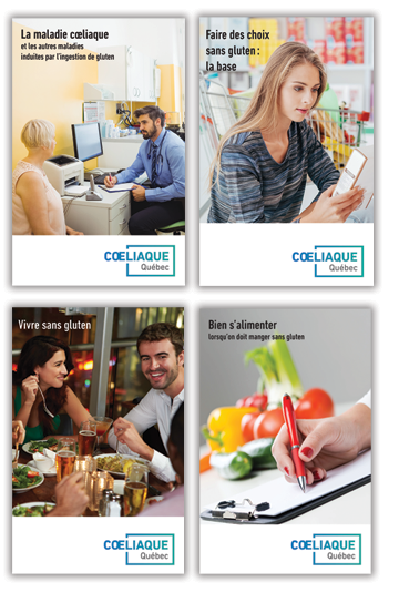4 livrets sur la maladie coeliaque et l'alimentation sans gluten
